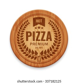 Vector logotype for pizza restaurant on wooden round cutting board, design template