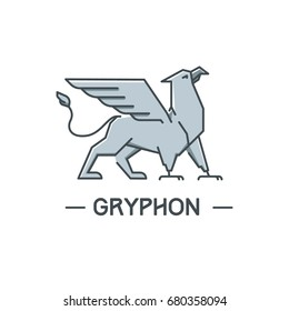 Vector logotype. Proud silver gryphon (Griffon, Griffin)