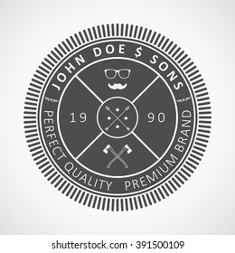 "Vector logotype. Retro Vintage Logo. Example: ""John Doe & sons"", perfect quality, premium brand."