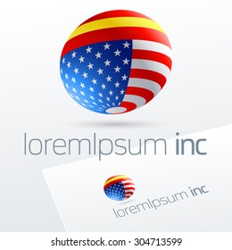 Vector logotype in sphere shape for international business, tourism and communications. Spain and United States of America