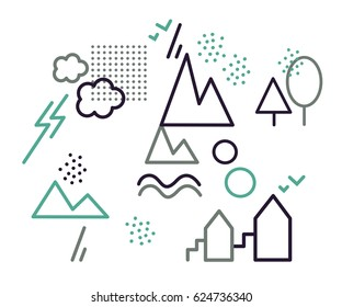 Vector logotypes, icons. Two clouds with two lightning, two mountains, river in the mountains, two birds,two houses with staircases. Info-graphic.