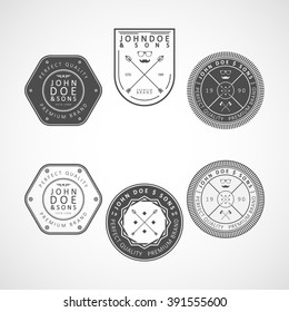 "Vector logotypes set. Retro Vintage Logos set. Example: ""John Doe & sons"", perfect quality, premium brand."