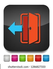 vector logout icon - exit sign, register logout button