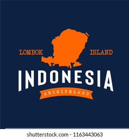 Vector of Lombok island in Indonesia with arched typography, isolated on dark background. Suit for tour and travel company logo, cafe logo, hikers or adventure community logo, etc