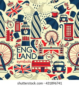 Vector London illustration with Big Ben, red bus, umbrella and other landmarks