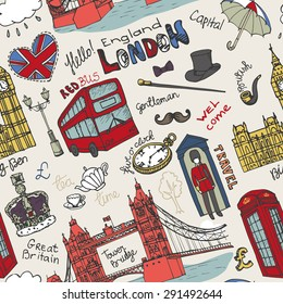 Vector  London landmark, lettering in seamless pattern.Doodle Hand drawn  sketchy.Famous architectural monuments ,sign,symbols. England vintage icons , background,backdrop,wallpaper,fabric