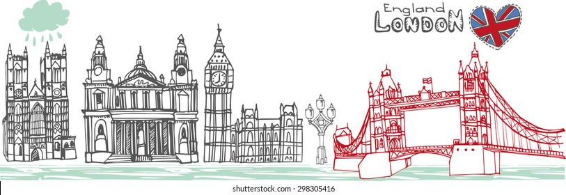 Vector  London landmark panorama,city skyline on Chalkboard.Hand drawn doodle sketchy.Famous architectural monuments ,sign,symbols. England vintage icons , background