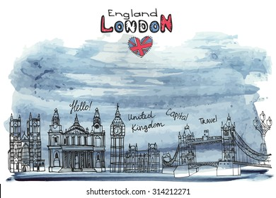 Vector London landmark panorama,city skyline.Watercolor ink texture splash.Doodle Hand drawn  sketchy.Famous architectural monuments ,sign,symbols.England vintage icons,background