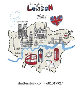 Vector  London map landmark, lettering.Hand drawn doodle sketchy.Famous architectural monuments ,sign,symbols. England vintage icons , background