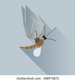 Vector Long Shadow Dead Mosquito