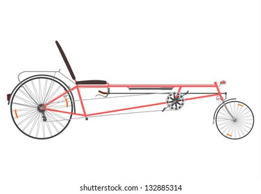 Vector. Long wheelbase recumbent bike on a white background.