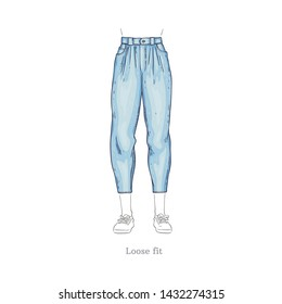 Vector loose fit style blue jeans. Denim female pants sketch icon. Casual fashion trousers, trendy garment for women. Urban fabric apparel, fashionable blue clothing. Isolated illustration