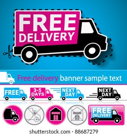 Vector lorry/van and delivery icons set with cut out coupon illustration, promotional banner and glossy button.