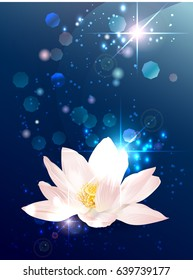 Vector lotus esoteric banner on blue space background with stars and lights. Mystical design for astrology, occultism, yoga, ayurvedic medicine. Providence symbol with place for text