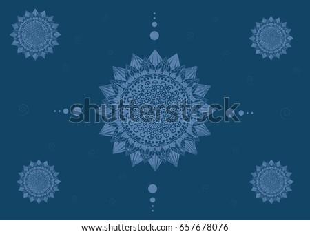 Vector Lotus Flower Background Circled Element Design Stock Vector