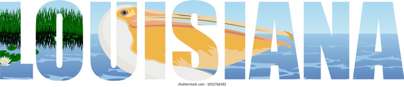 vector Louisiana - American state word with pelican and sea coast