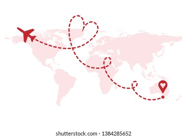 Vector love airplane route. Air plane flight route with start point and dash line trace. Romantic travel, heart dashed path on world map background.