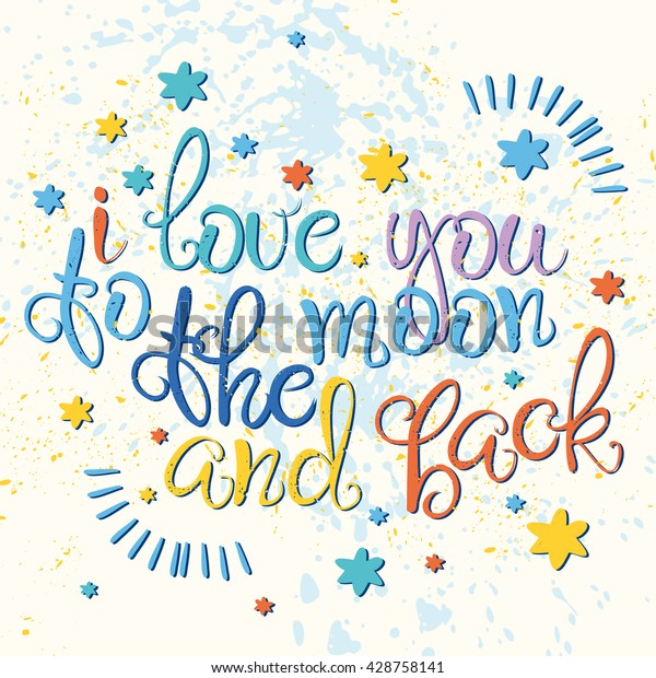 Vector Love Card Love You Moon Stock Vector (Royalty Free) 428758141