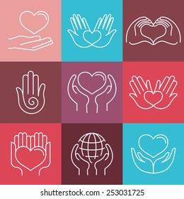 Vector love and care round emblems in linear style - hand made and charity - icons for non-profit organizations