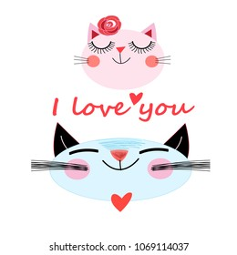 Vector in love cats. Love cards.Valentine's Day.animal print.Children illustration for school books and much more.