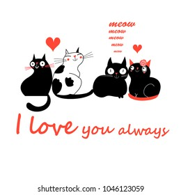Vector in love cats. T-shirt Print.Love cards.Valentine's Day.animal print.Children illustration for school books and much more.