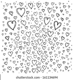 Vector Love concept. Sketch background with hearts