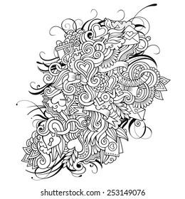 Vector Love Doodles Sketch Background