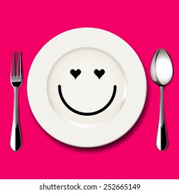 Vector of love face draw on white plate with spoon and fork on pink background