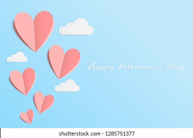 aa83e5c9cf7 vector of love and Happy Valentine s day. origami design elements cut paper  made pink heart