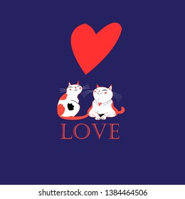 Vector in love with a heart on a blue background
