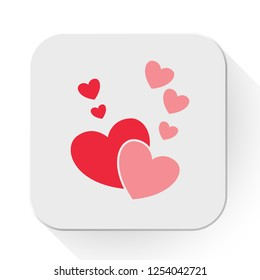 vector love hearts concept. Flat illustration of wedding love. romantic love isolated on white background. valentine sign symbol. love icon