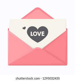 Vector love icon envelope with heart. The envelope is pink, and the love message on black paper. Romantic Letter in flat minimalism style.