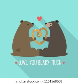 Vector love icon of a pair of bears. In the illustration, the bears keep the heart. Text: I love you beary much
