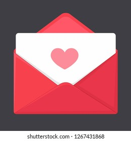 Vector love icon red envelope. In the envelope is a card with a heart. Illustration of a letter in flat style.