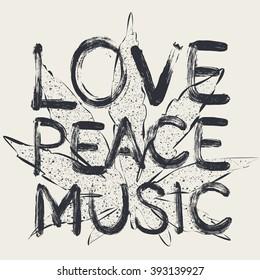 Vector love peace music, t-shirt design
