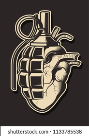 Vector Love Sign Grenade and Heart