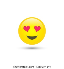 Vector love staring emoticon icon in trendy flat style isolated on white background. Falling in love smile for your web site design, logo, app, UI. Vector illustration, 10 EPS