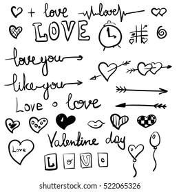 Vector love symbols set black