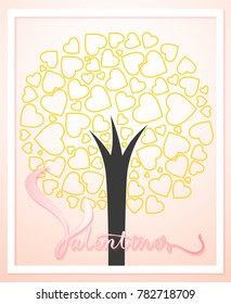 Vector, Love  tree with hearts shape leaves isolated on light pink background. Happy Valentine's day, Love iconic, Idea for art, card, gift, decoration, wallpaper, and background,EPS10