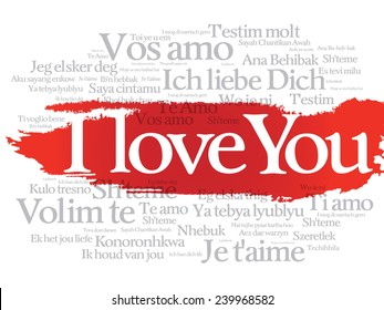 """Vector love words """"I love you"""" in all languages of the world, words cloud"""