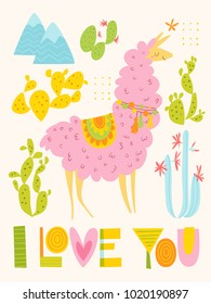 Vector I love you card with cartoon lama and lettering. Flat style poster