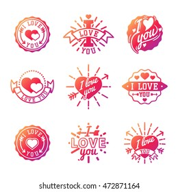 Vector I love You photo badges, modern lettering collection, inspirational text