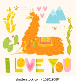 Vector I love you poster with cartoon lama and lettering. Flat style card