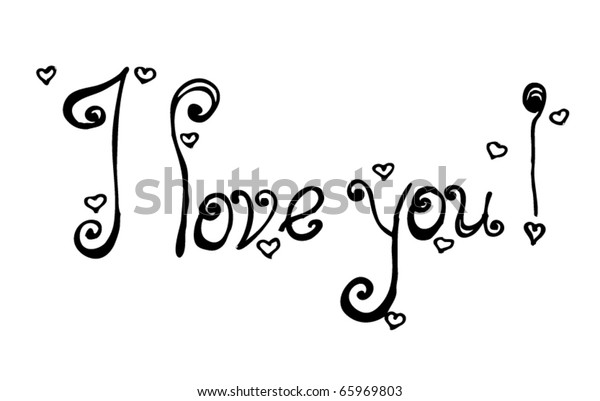 vector i love you text in handwriting