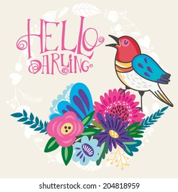 "Vector lovely illustration of bird and flowers with hand-drawn letters ""Hello darling""."