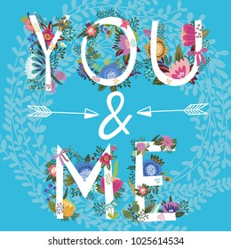 "Vector lovely illustration of hand drawn letters ""you and me"""