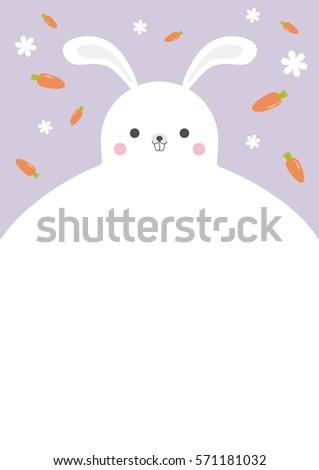 vector lovely rabbit template design carrot stock vector royalty