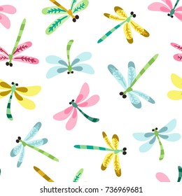 Vector lovely seamless pattern of dragonflies in sweet color palette.