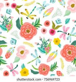 Vector lovely seamless pattern of flowers, leaves and dragonflies in sweet color palette.