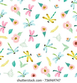 Vector lovely seamless pattern of flowers and dragonflies in sweet color palette.